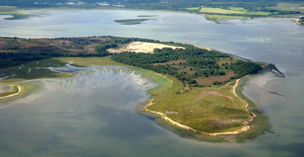 Aerial shot of Arne RSPB nature reserve, Dorset. Credit rspb-images